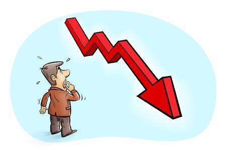 Financial crisis , stock market plunge. businessman looking at descending graph