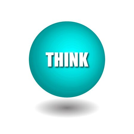 THINK on blue circle isolated vector icons on white background.