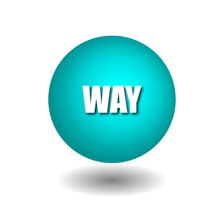 WAY on blue circle isolated vector icons on white background.