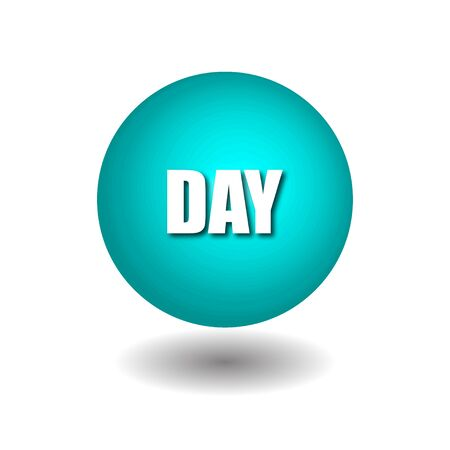 DAY on blue circle isolated vector icons on white background.