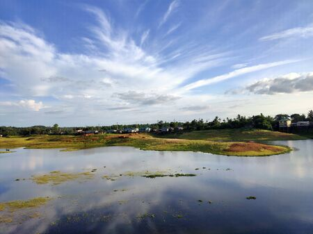 Blue sky with lake landscape in