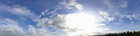 Blue sky with storm clouds panorama 360 degrees angle view.