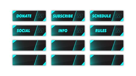 Creative set of gaming twitch panels.