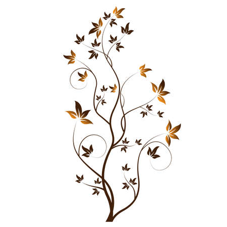 Floral hand drawn with leaves Illustration