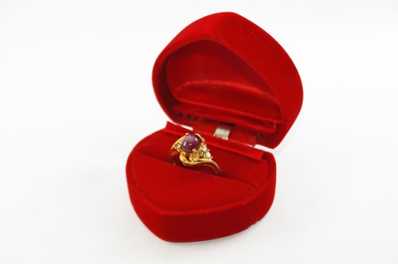 Ruby Ring in the Love Red Box Stock Photo - 15963221