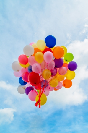 Released balloons in the air