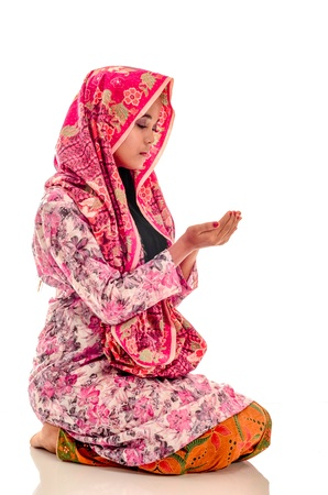 girl notebook: Muslimah Concept isolated on white Stock Photo