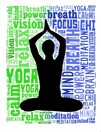 textcloud: Yoga and health info text cloud collage with shape of a girl