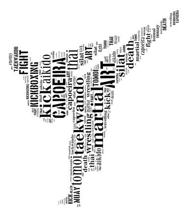 Martial Art Side Kick Wordle isolated on white photo