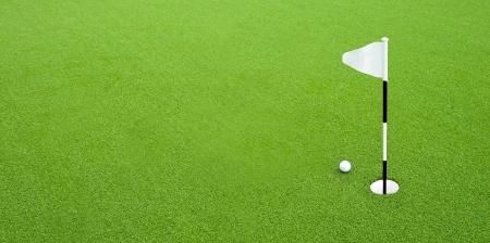 golf ball: Golf ball on green grass next hole