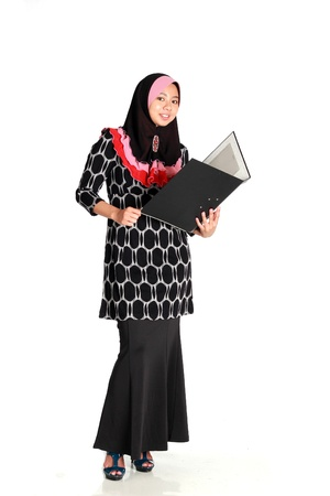 Secretary Muslim Women with file isolated on white background photo