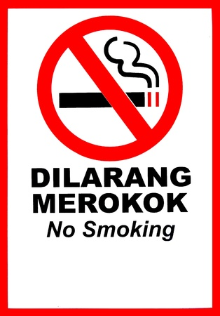 No smoking with cigarette on white background photo