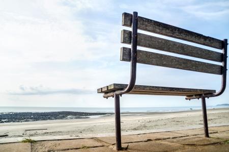 Bench near the black stone beach photo