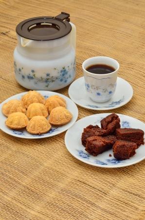 Coffee and bahulu with chocolate cake Stock Photo - 20152438