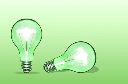 green bulb: Green Bulb isolated on green background Stock Photo
