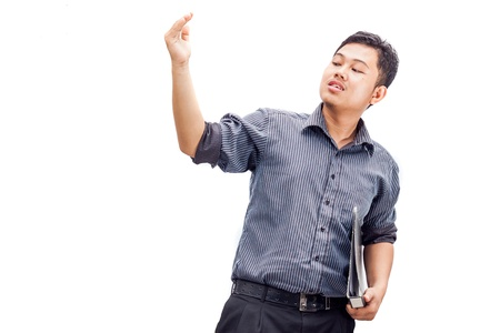expel: Men showing expel sign Stock Photo