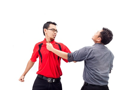 strangle: Two men fighting in confrontation isolated on white background Stock Photo