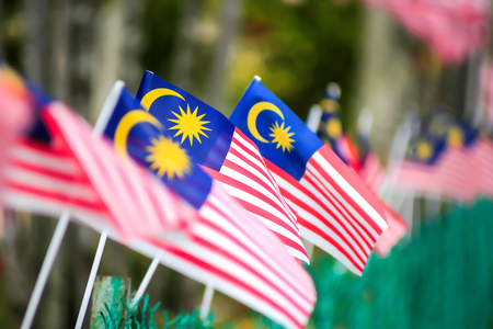 Malaysia Flag (selective focus and shallow deep of field - DOF) 版權商用圖片