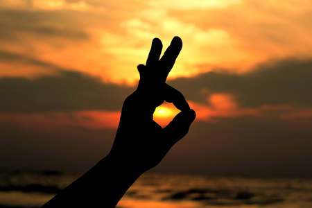 Ok hand sign silhouette photo