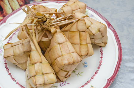 compressed rice: Ketupat or packed rice dumpling Stock Photo