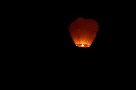 Flying lantern in the dark sky photo