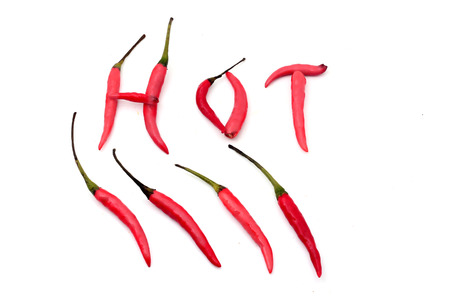Red hot chili peppers alphabet on white photo