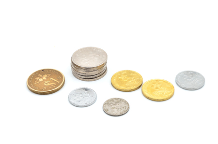 sen: Old Malaysian sen coins isolated on white Stock Photo