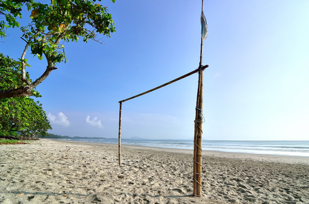 Goal post at the beach photo