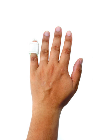 Hand with a finger splint Stock Photo - 23572336