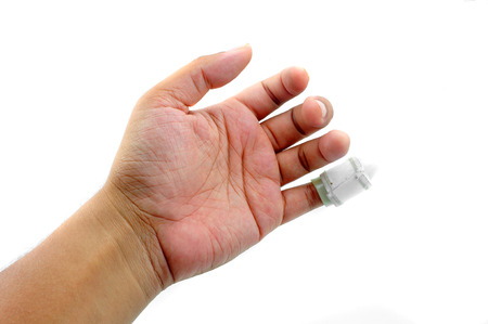 Hand with a finger splint Stock Photo - 23572337