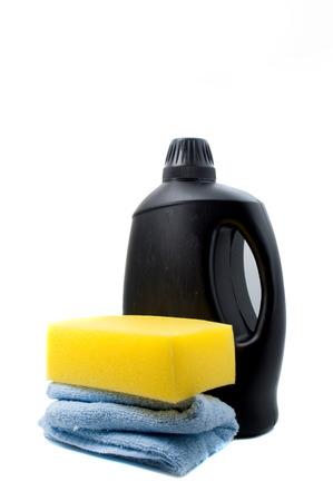 wash: Sponge and towel with car wash foam
