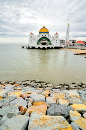 straits: Malacca Straits Mosque facade on August 29, 2012 in Malacca, Malaysia