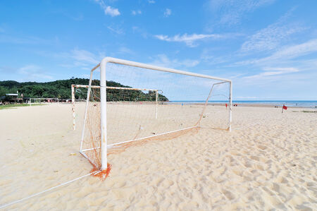 Goal Post on the beach photo