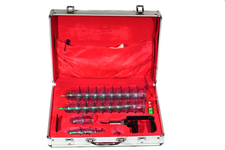 Medical cupping therapy equipment in the briefcase photo