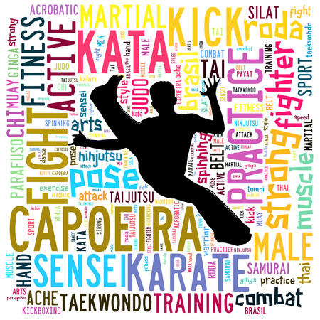 thai dance: Text Cloud of Martial Arts with shape
