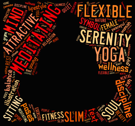inner beauty: word cloud composed in the shape of a man doing yoga meditation pose Stock Photo
