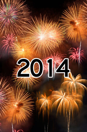 2014 New Year celebration with fireworks Stock Photo - 27398623