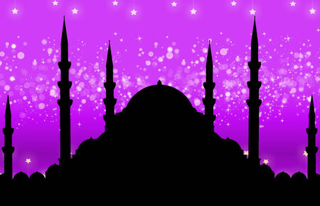 Silhouette of mosque with colorful abstract background photo