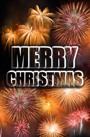 Merry Christmas celebration with fireworks Stock Photo - 27398688