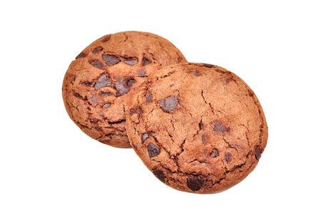 cikolatali: Chocolate Chip Cookie isolated on white Stock Photo