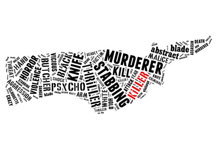 thriller: Text Collage of Killer Stock Photo