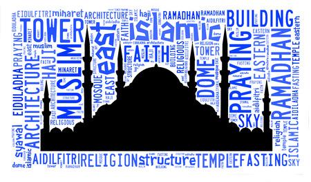 Text cloud and arrangement with mosque shape concept