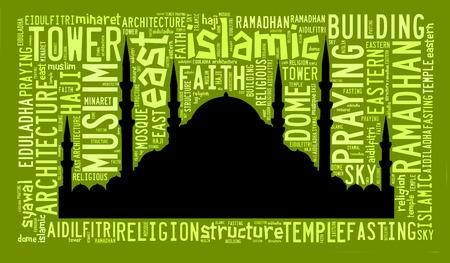 textcloud: Text cloud and arrangement with mosque shape concept