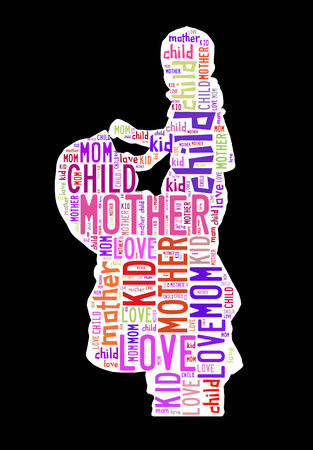 Text cloud of mother and her son photo