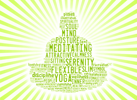 meditation man: word cloud composed in the shape of a man doing yoga meditation pose Stock Photo