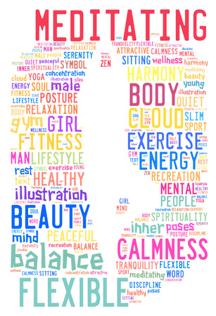 inner beauty: word cloud composed in the shape of a man doing yoga pose