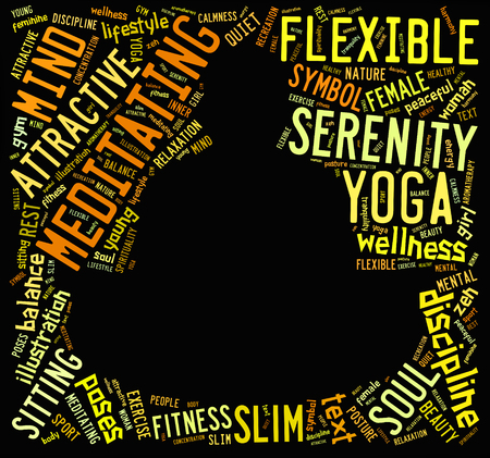 word cloud composed in the shape of a man doing yoga meditation pose photo