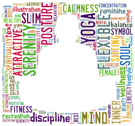 ヨガ瞑想のポーズを行う人間の形で構成される単語の雲 写真素材
