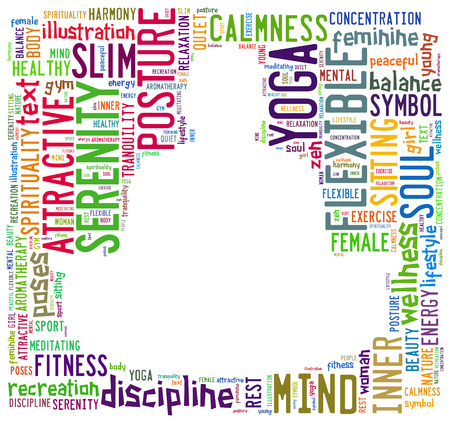 word cloud composed in the shape of a man doing yoga meditation pose Stock Photo