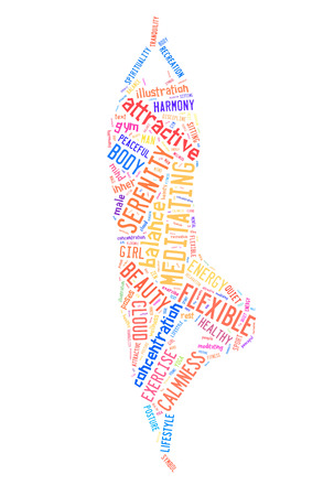 word cloud composed in the shape of a man doing yoga pose photo